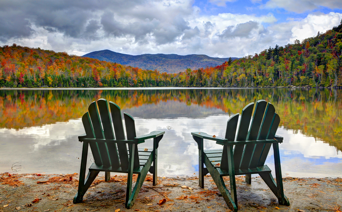 Johnathan Esper - Heart Lake with Adirondack Chairs in the fall